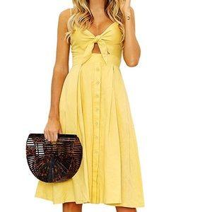 Yellow Tie front sun dress 👗